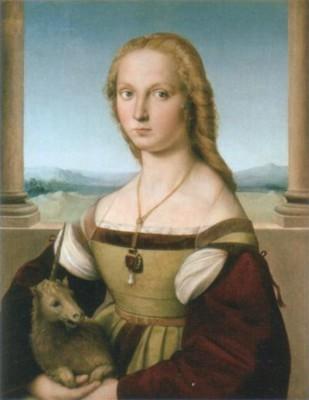 ラファエロ・サンツィオ《一角獣を抱く貴婦人》(ボルゲーゼ美術館蔵)