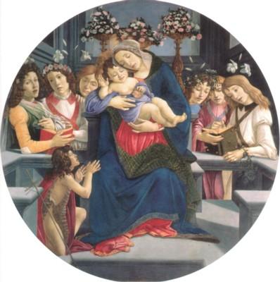 サンドロ・ボッティチェリとその弟子たち《聖母子、洗礼者ヨハネと天使》