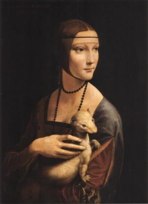 レオナルド・ダ・ヴィンチ《白貂を抱く貴婦人》(チャルトリスキ美術館蔵)