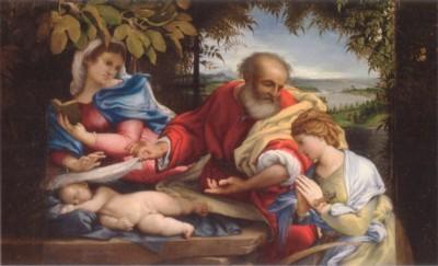 ロレンツォ・ロット《エジプト逃避途上の休息と聖ユスティナ》(エルミタージュ美術館蔵)