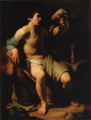 バルトロメオ・マンフレディ(帰属)《羊を連れた洗礼者ヨハネ》
