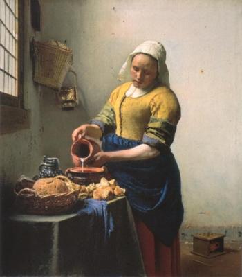 ヨハネス・フェルメール《牛乳を注ぐ女》(アムステルダム、国立美術館蔵)