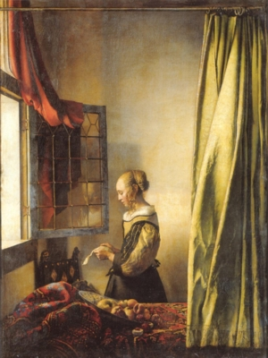 ヨハネス・フェルメール《窓辺で手紙を読む若い女》(ドレスデン国立美術館蔵)