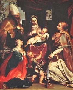 アゴスティーノ・カラッチ《聖母子と聖マルガリタ、聖ベネディクトゥス(?)、聖チェチリア、幼い洗礼者聖ヨハネ》