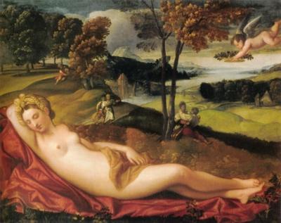 16世紀ヴェネト派の画家《眠れるヴィーナスのいる風景》(フィレンツェ、パラティーナ絵画館蔵)