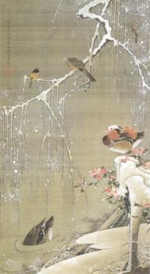伊藤若冲筆《動植綵絵:雪中鴛鴦図(せっちゅうえんおうず)》
