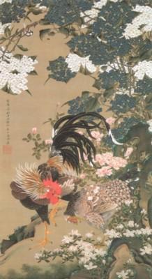 伊藤若冲筆《動植綵絵:紫陽花双鶏図(あじさいそうけいず)》