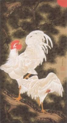 伊藤若冲筆《動植綵絵:老松白鶏図(ろうしょうはっけいず)》