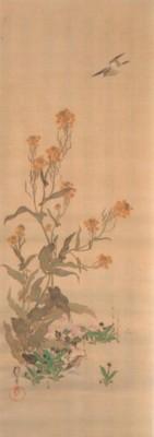 《花鳥十二ヶ月図:2月 菜花に雲雀図(なのはなにひばりず)》
