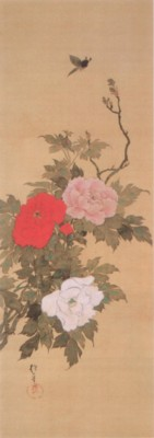 《花鳥十二ヶ月図:4月 牡丹に蝶図(ぼたんにちょうず)》