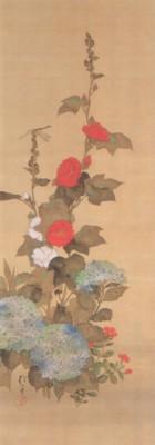 《花鳥十二ヶ月図:6月 立葵紫陽花に蜻蛉図(たちあおいにとんぼず)》