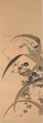 《花鳥十二ヶ月図:7月 玉蜀黍朝顔に青蛙図(とうもろこしあさがおにあおがえるず)》