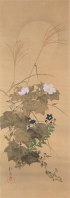 《花鳥十二ヶ月図:8月 秋草に螽斯図(あきくさにきりぎりすず)》