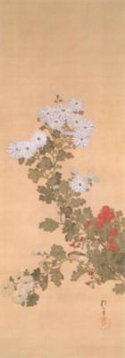 《花鳥十二ヶ月図:9月 菊に小禽図(きくにしょうきんず)》