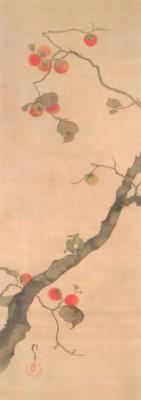 《花鳥十二ヶ月図:10月 柿に小禽図(きくにしょうきんず)》