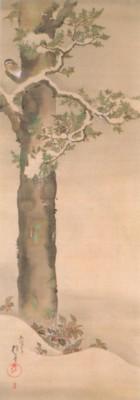 《花鳥十二ヶ月図:12月 檜に啄木鳥図(ひのきにきつつきず)》