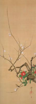 《花鳥十二ヶ月図:1月 梅椿に鶯図(うめつばきにうぐいすず)》