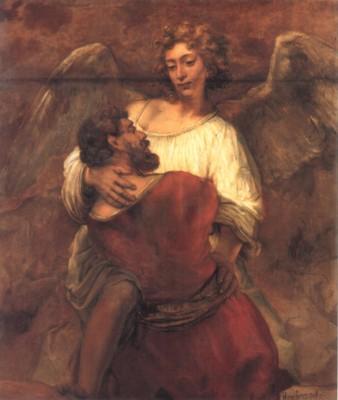 レンブラント・ハルメンス・ファン・レイン《天使と格闘するヤコブ》(ベルリン国立博物館蔵)