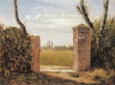 ジャン=バティスト=カミーユ・コロー《ルーアン近郊のボワ=ギヨームの屋敷の門》(ヴェネツィア市立美術館蔵)