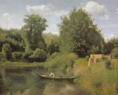 ジャン=バティスト=カミーユ・コロー《ヴィル・ダヴレー-水門のそばの釣り人》(モントリオール美術館蔵)