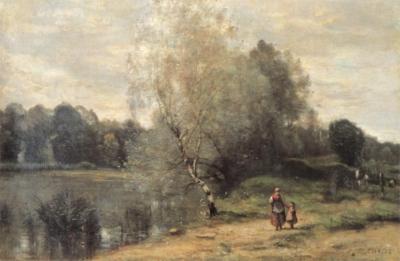 ジャン=バティスト=カミーユ・コロー《ヴィル=ダヴレー、白樺のある池》(愛媛県美術館蔵)