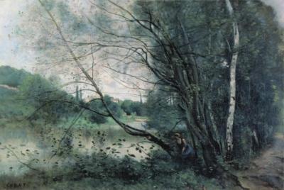 ジャン=バティスト=カミーユ・コロー《ヴィル=ダヴレー、傾いだ木のある池》(ランス美術館蔵)