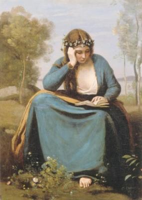 ジャン=バティスト=カミーユ・コロー《本を読む花冠の女、あるいはウェルギリウスのミューズ》(ルーヴル美術館蔵)