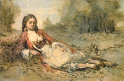 ジャン=バティスト=カミーユ・コロー《草地に横たわるあるフェリアの娘》(アムステルダム、ゴッホ美術館蔵-アムステルダム国立美術館より寄託)