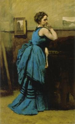 ジャン=バティスト=カミーユ・コロー《青い服の婦人》(ルーヴル美術館蔵)