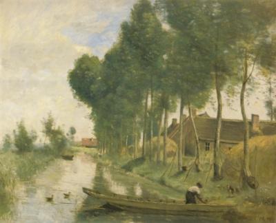 ジャン=バティスト=カミーユ・コロー《アルルーの風景、道沿いの小川》(ロンドン、ナショナル・ギャラリー蔵)