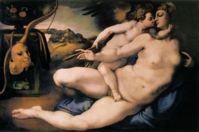 ポントルモ(本名ヤコポ・カルッチ)ミケランジェロの下絵にもとづく《ヴィーナスとキューピッド》(フィレンツェ、アカデミア美術館蔵)